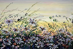 Daisy Meadow IV by Maya Eventov -  sized 36x24 inches. Available from Whitewall Galleries